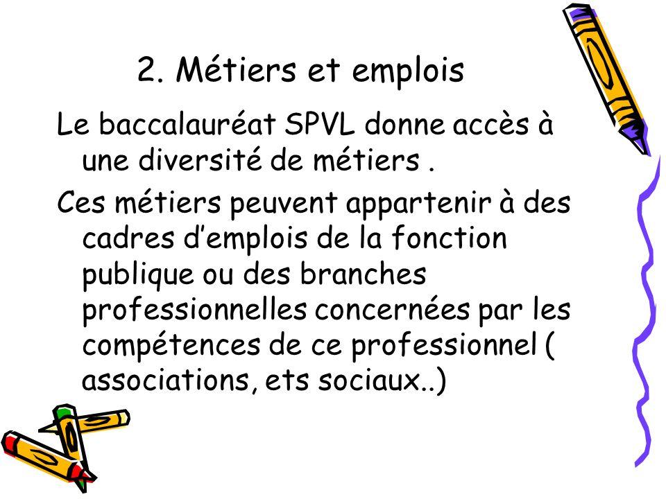2. Métiers et emplois Le baccalauréat SPVL donne accès à une diversité de métiers. Ces métiers peuvent appartenir à des cadres demplois de la fonction