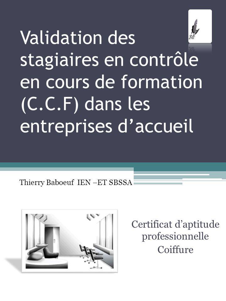 Validation des stagiaires en contrôle en cours de formation (C.C.F) dans les entreprises daccueil Certificat daptitude professionnelle Coiffure Thierr