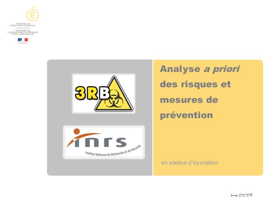 Analyse a priori des risques et mesures de prévention en station d'épuration Année 2012/2013