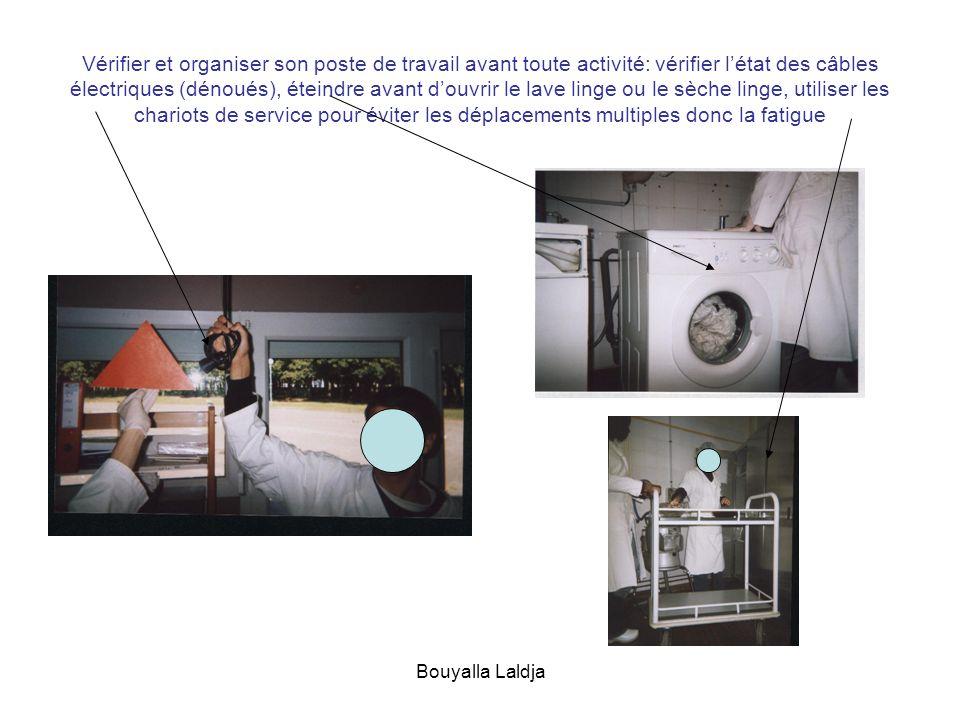 Bouyalla Laldja Vérifier et organiser son poste de travail avant toute activité: vérifier létat des câbles électriques (dénoués), éteindre avant douvr