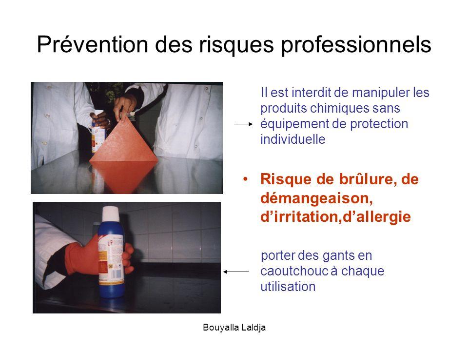 Bouyalla Laldja Prévention des risques professionnels Il est interdit de manipuler les produits chimiques sans équipement de protection individuelle R