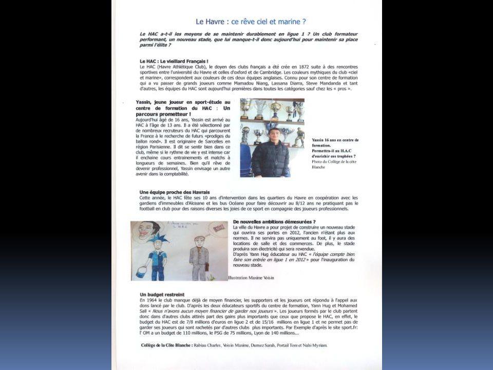 Sujet : Le Havre et les bibliothèques Equipe : collège Brel Beuzeville