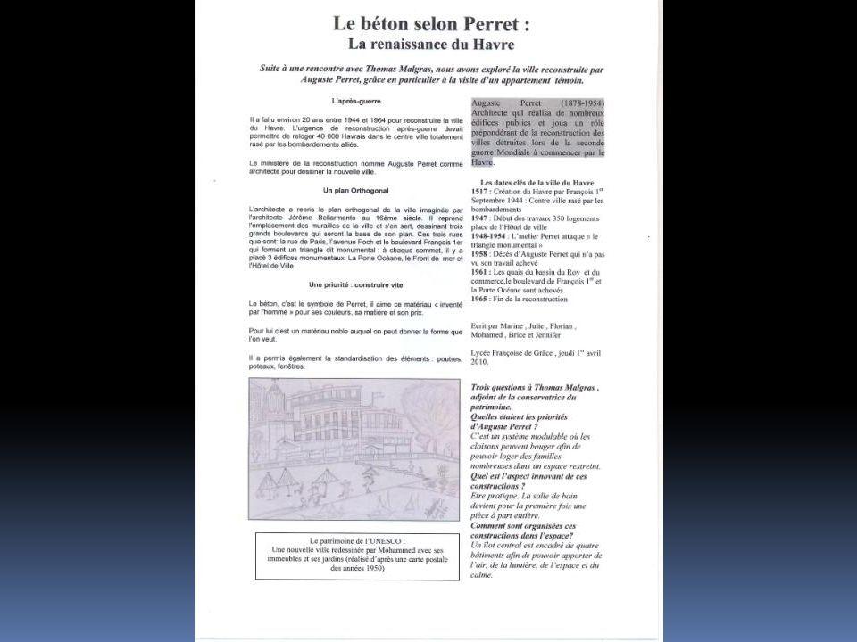 Sujet : Le Havre et le musée Malraux Equipe : Lycée Raymond Queneau Yvetôt Article rédigé en allemand