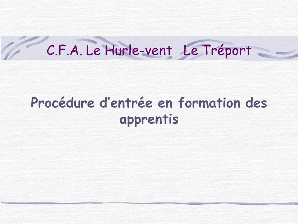 C.F.A. Le Hurle-vent Le Tréport Procédure dentrée en formation des apprentis
