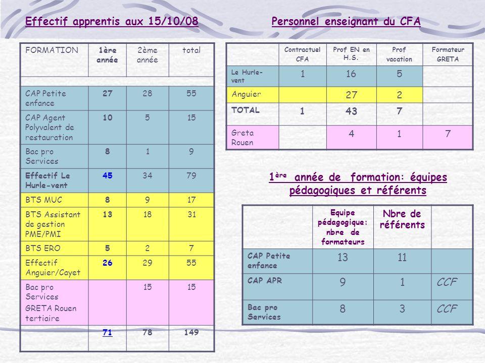 Effectif apprentis aux 15/10/08 FORMATION1ère année 2ème année total CAP Petite enfance 272855 CAP Agent Polyvalent de restauration 10515 Bac pro Serv