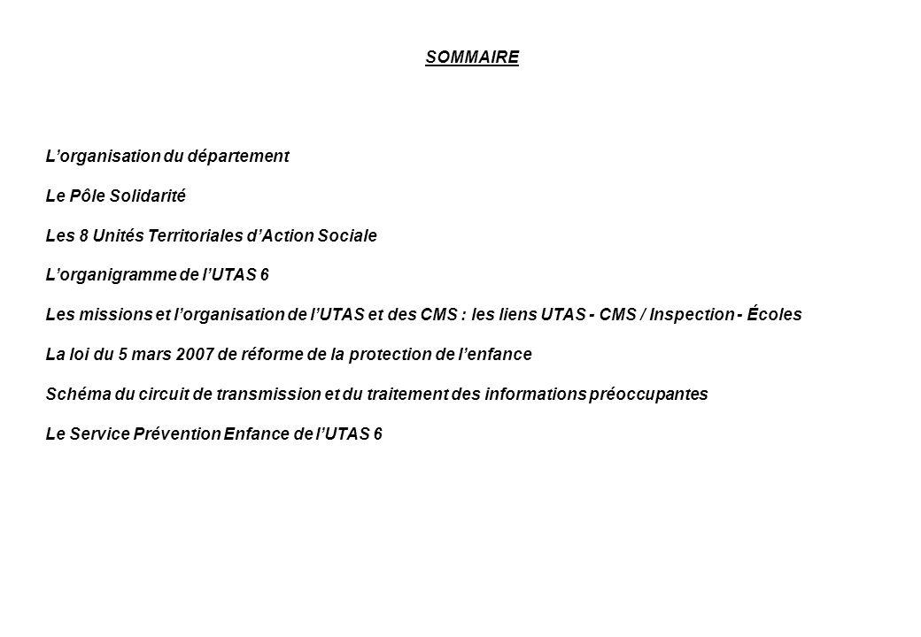 SOMMAIRE Lorganisation du département Le Pôle Solidarité Les 8 Unités Territoriales dAction Sociale Lorganigramme de lUTAS 6 Les missions et lorganisa