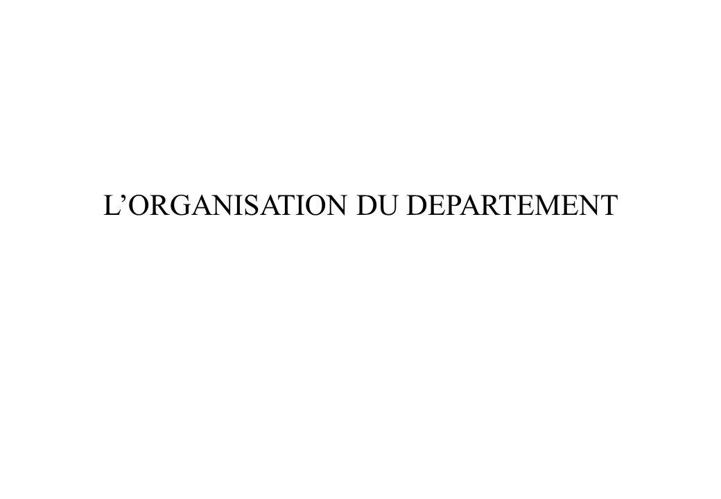 LORGANISATION DU DEPARTEMENT
