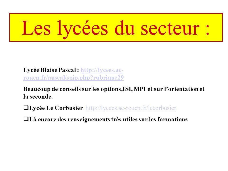 Les lycées du secteur : Lycée Blaise Pascal : http://lycees.ac- rouen.fr/pascal/spip.php rubrique29http://lycees.ac- rouen.fr/pascal/spip.php rubrique29 Beaucoup de conseils sur les options,ISI, MPI et sur lorientation et la seconde.