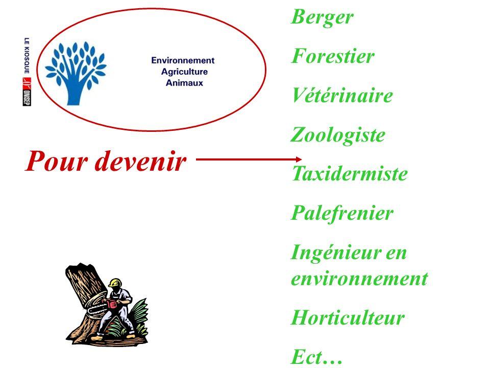 Pour devenir Berger Forestier Vétérinaire Zoologiste Taxidermiste Palefrenier Ingénieur en environnement Horticulteur Ect…