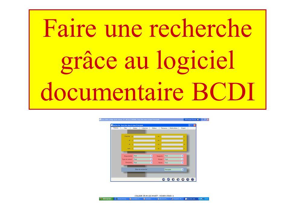 Faire une recherche grâce au logiciel documentaire BCDI