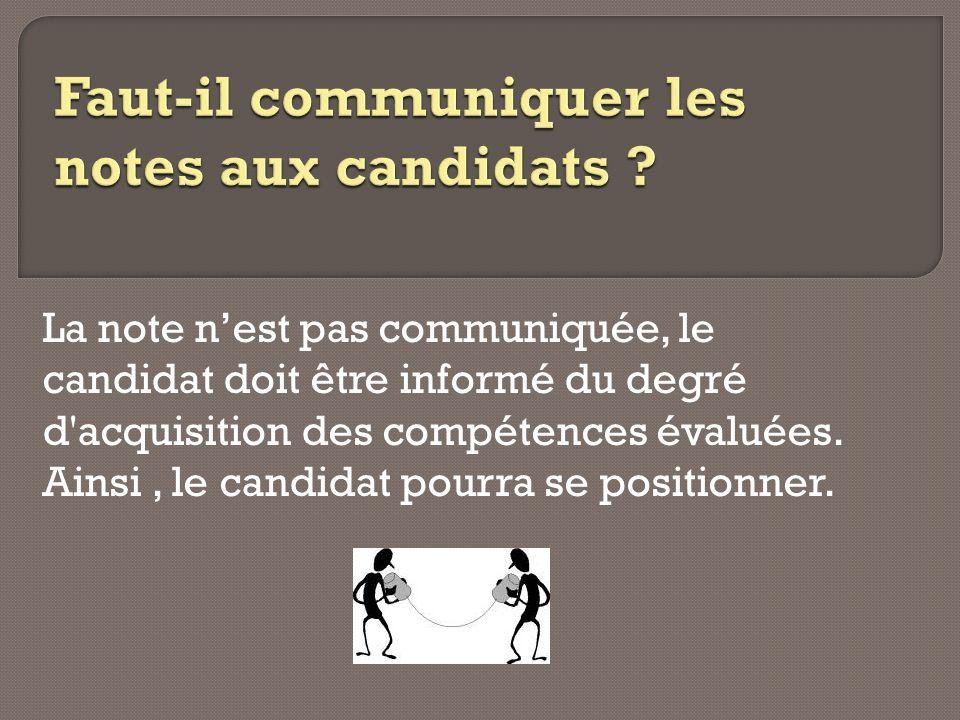 La note nest pas communiquée, le candidat doit être informé du degré d'acquisition des compétences évaluées. Ainsi, le candidat pourra se positionner.