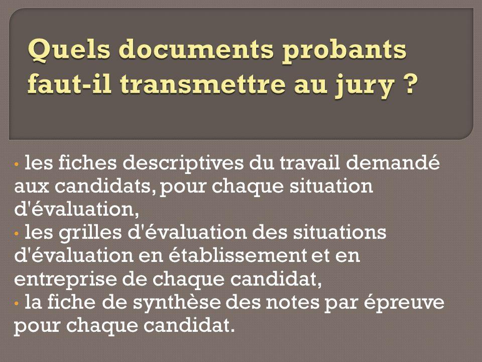 les fiches descriptives du travail demandé aux candidats, pour chaque situation d'évaluation, les grilles d'évaluation des situations d'évaluation en