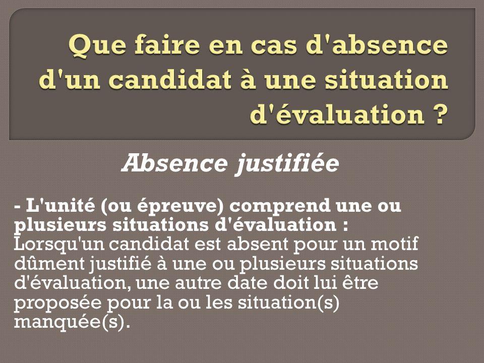 Absence justifiée - L'unité (ou épreuve) comprend une ou plusieurs situations d'évaluation : Lorsqu'un candidat est absent pour un motif dûment justif