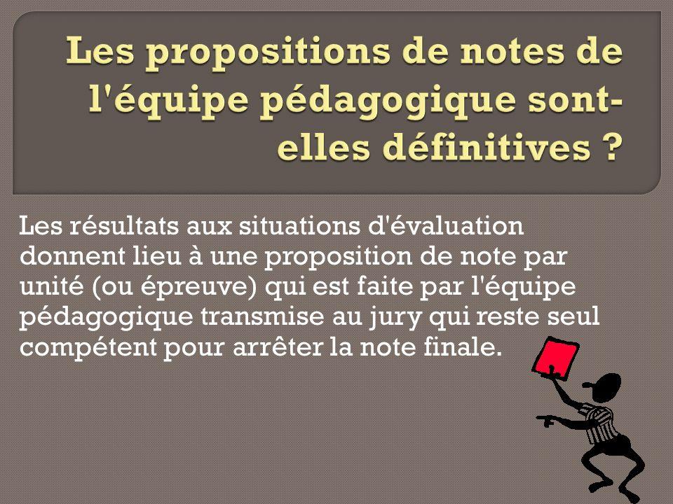 Les résultats aux situations d'évaluation donnent lieu à une proposition de note par unité (ou épreuve) qui est faite par l'équipe pédagogique transmi