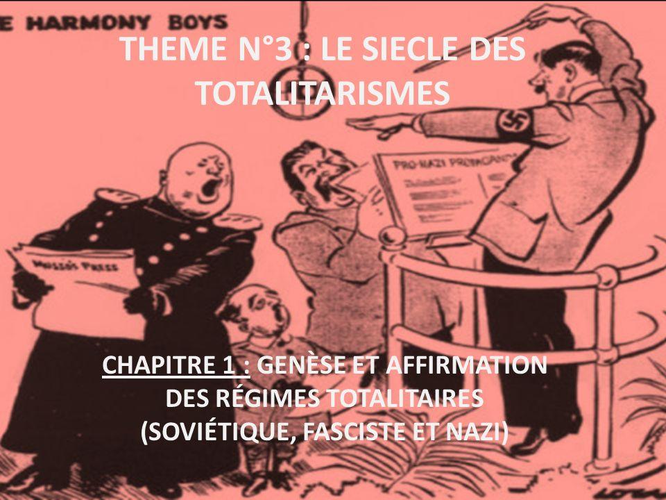 THEME N°3 : LE SIECLE DES TOTALITARISMES CHAPITRE 1 : GENÈSE ET AFFIRMATION DES RÉGIMES TOTALITAIRES (SOVIÉTIQUE, FASCISTE ET NAZI)