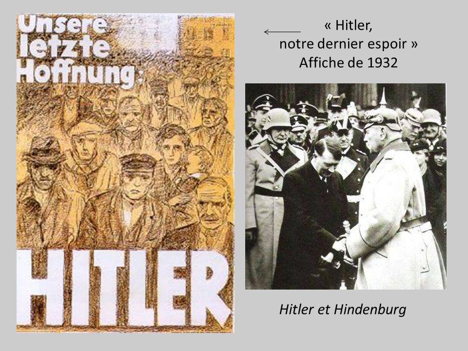 « Hitler, notre dernier espoir » Affiche de 1932 Hitler et Hindenburg