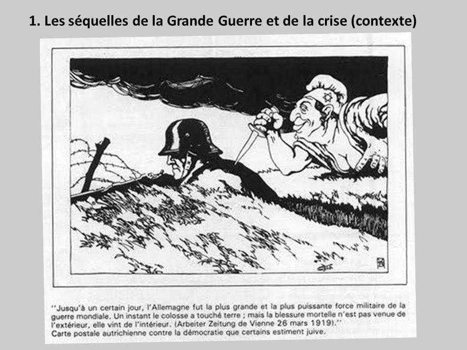 Si l on cherche comment, dans son immense majorité l opinion allemande, interprète l armistice du 11 novembre 1918, et la paix de juin 1919, on se trouve en face de la version suivante, propagée par tous les journaux, enseignée dans toutes les écoles, ancrée dans tous les cerveaux, bien avant l accession d Hitler au pouvoir : l Allemagne n a pas été militairement vaincue ; son armée n a pas été battue en rase campagne ; ses frontières n ont pas été violées; elle n a pas été envahie ; elle a été victime, avant tout, du blocus, moyen de guerre inhumain, contre lequel l emploi de la guerre sousmarine à outrance était parfaitement légitime ; […] enfin, lunivers était ligué contre elle ; c est pourquoi, à l instigation du gouvernement civil et des milieux parlementaires, elle a demandé un armistice, prologue à une paix qui, dans sa pensée, devait être négociée d égal à égal […] ; les conditions mises par les Alliés à l octroi d un armistice ont été cependant draconiennes […] ; l Allemagne aurait pu les repousser et reprendre la lutte ; mais, à ce moment, les sociaux-démocrates, les marxistes, les juifs ont porté à la patrie un coup de poignard dans le dos ; l arrière a trahi le front ; il a fait une révolution qui rendait toute résistance impossible.