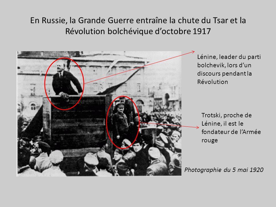 En Russie, la Grande Guerre entraîne la chute du Tsar et la Révolution bolchévique doctobre 1917 Lénine, leader du parti bolchevik, lors dun discours