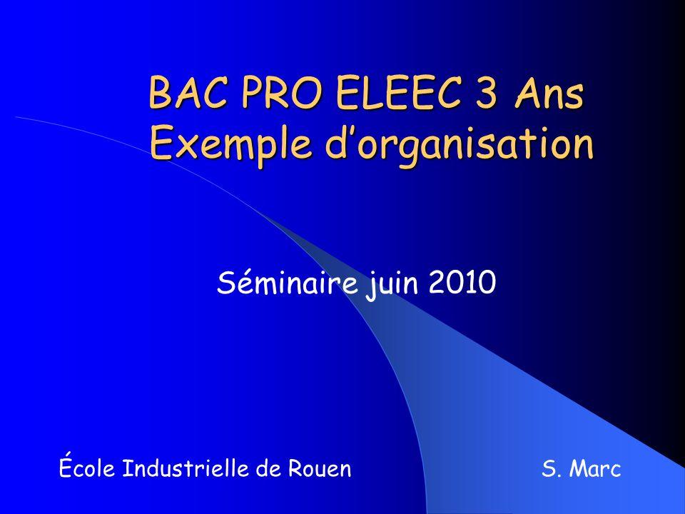 BAC PRO ELEEC 3 Ans Exemple dorganisation École Industrielle de Rouen S. Marc Séminaire juin 2010
