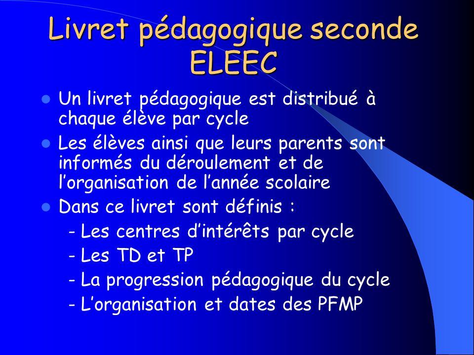 Livret pédagogique seconde ELEEC Un livret pédagogique est distribué à chaque élève par cycle Les élèves ainsi que leurs parents sont informés du déro