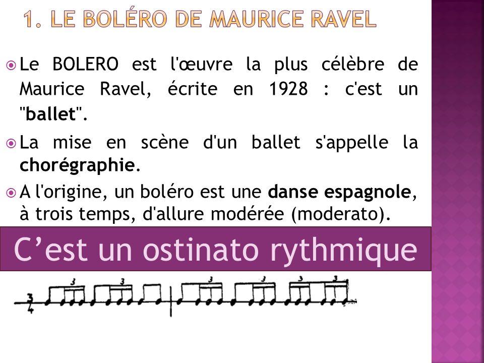 Le BOLERO est l'œuvre la plus célèbre de Maurice Ravel, écrite en 1928 : c'est un