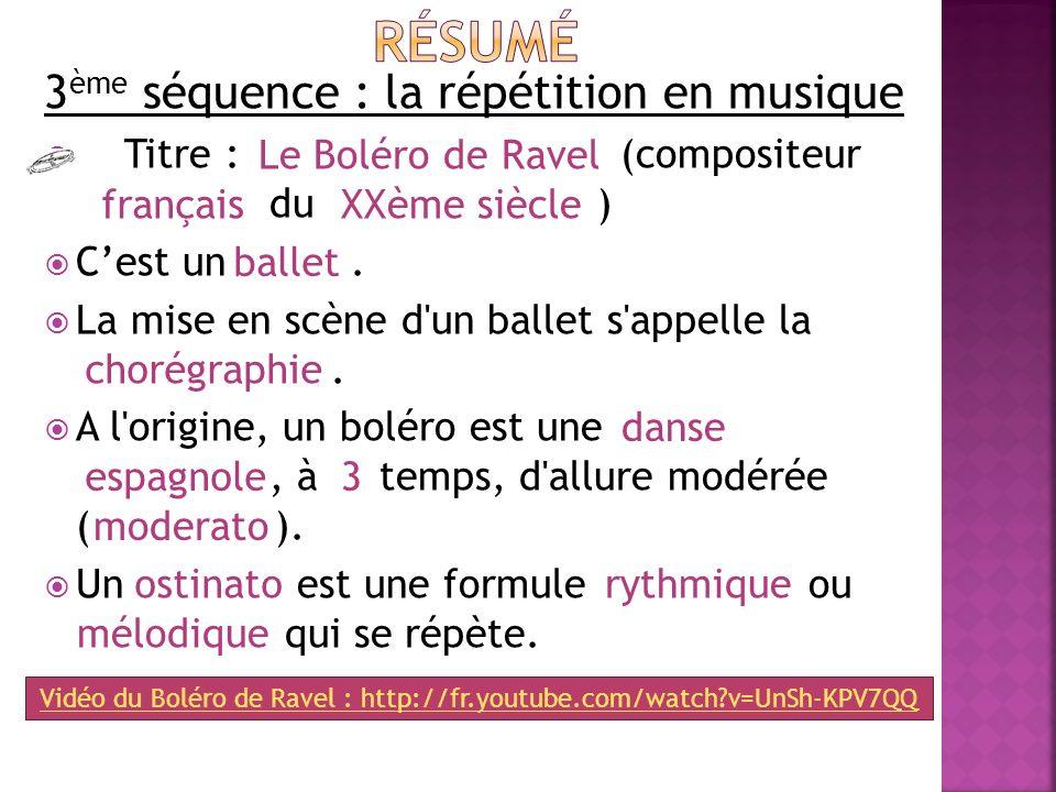 3 ème séquence : la répétition en musique Titre : (compositeur _ du ) Cest un. La mise en scène d'un ballet s'appelle la _. A l'origine, un boléro est