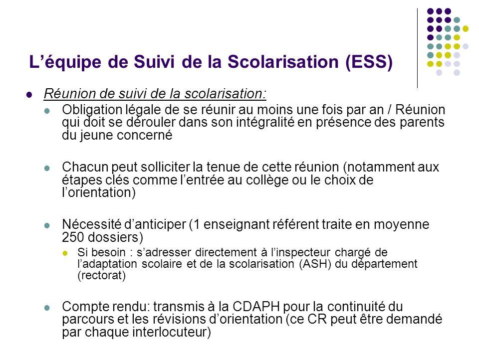 Léquipe de Suivi de la Scolarisation (ESS) Réunion de suivi de la scolarisation: Obligation légale de se réunir au moins une fois par an / Réunion qui
