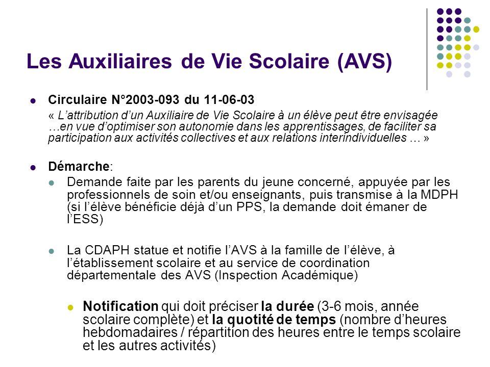 Les Auxiliaires de Vie Scolaire (AVS) Circulaire N°2003-093 du 11-06-03 « Lattribution dun Auxiliaire de Vie Scolaire à un élève peut être envisagée …