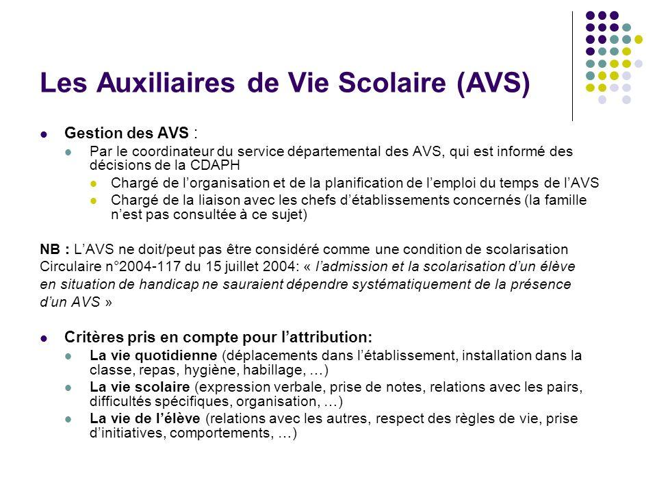 Les Auxiliaires de Vie Scolaire (AVS) Gestion des AVS : Par le coordinateur du service départemental des AVS, qui est informé des décisions de la CDAP