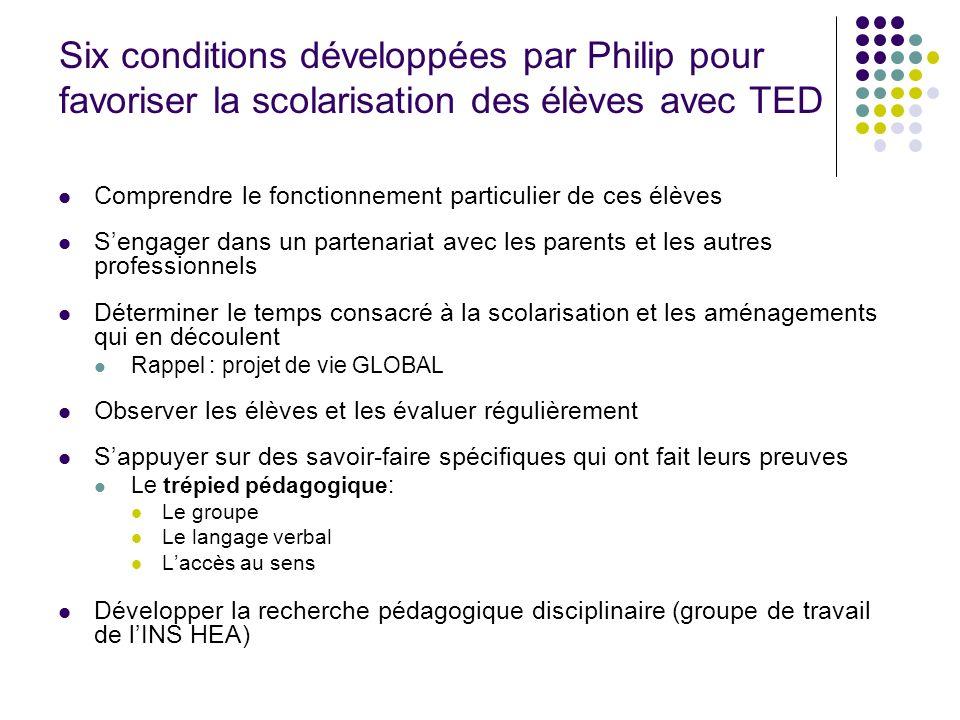 Six conditions développées par Philip pour favoriser la scolarisation des élèves avec TED Comprendre le fonctionnement particulier de ces élèves Senga