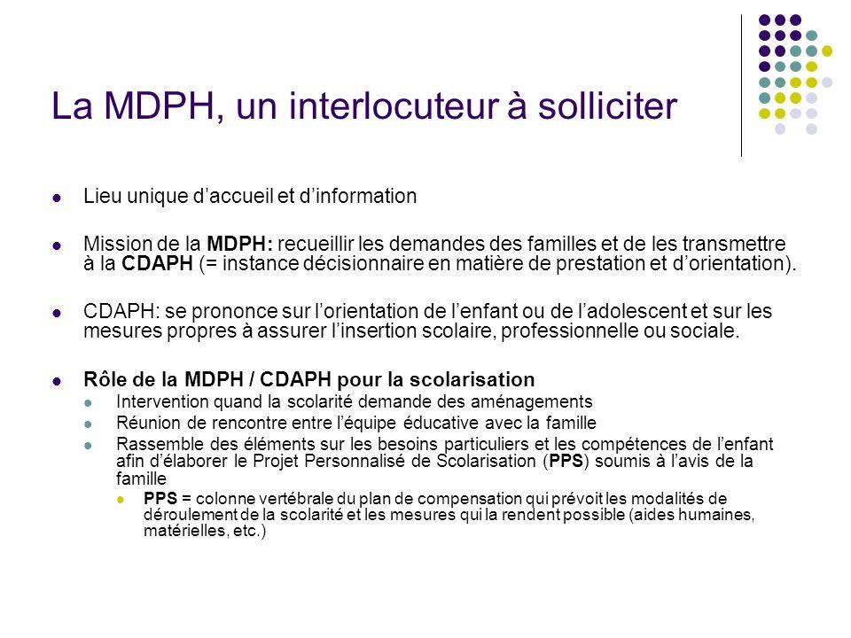 La MDPH, un interlocuteur à solliciter Lieu unique daccueil et dinformation Mission de la MDPH: recueillir les demandes des familles et de les transme
