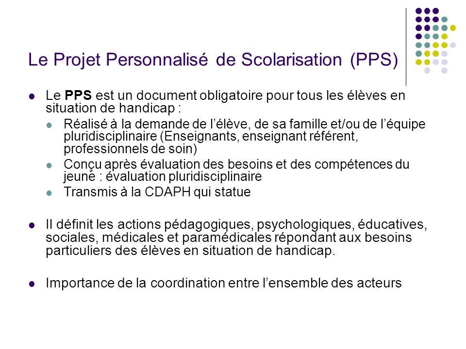 Le Projet Personnalisé de Scolarisation (PPS) Le PPS est un document obligatoire pour tous les élèves en situation de handicap : Réalisé à la demande