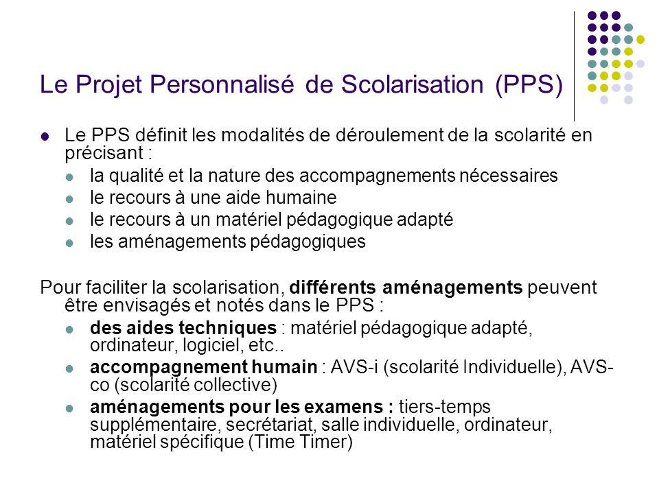 Le Projet Personnalisé de Scolarisation (PPS) Le PPS définit les modalités de déroulement de la scolarité en précisant : la qualité et la nature des a