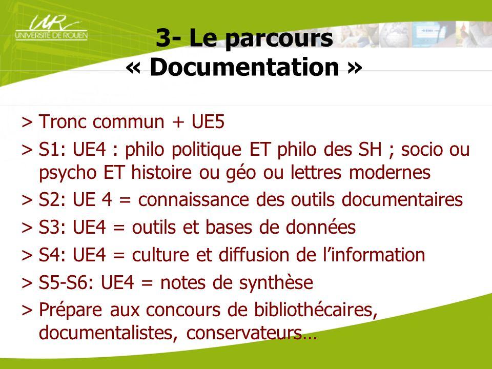3- Le parcours « Documentation » >Tronc commun + UE5 >S1: UE4 : philo politique ET philo des SH ; socio ou psycho ET histoire ou géo ou lettres modern