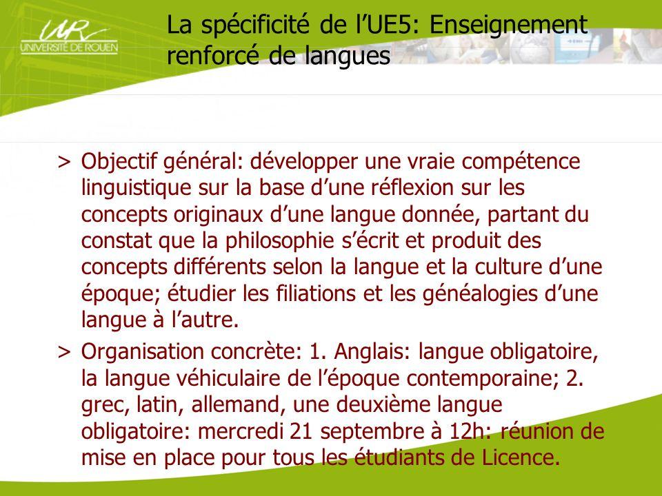 La spécificité de lUE5: Enseignement renforcé de langues >Objectif général: développer une vraie compétence linguistique sur la base dune réflexion su