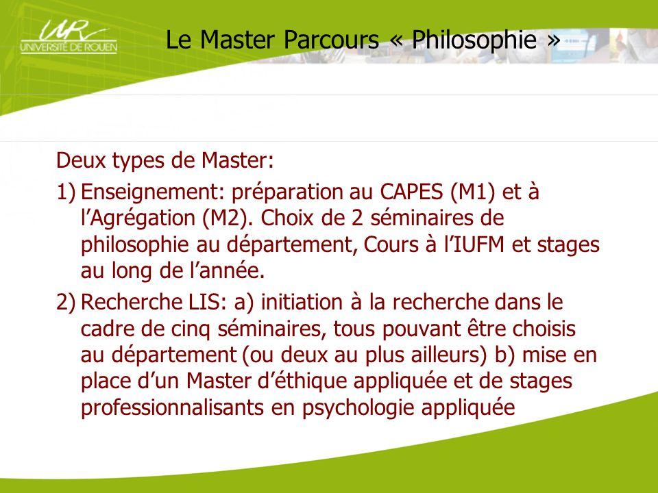 Le Master Parcours « Philosophie » Deux types de Master: 1)Enseignement: préparation au CAPES (M1) et à lAgrégation (M2). Choix de 2 séminaires de phi