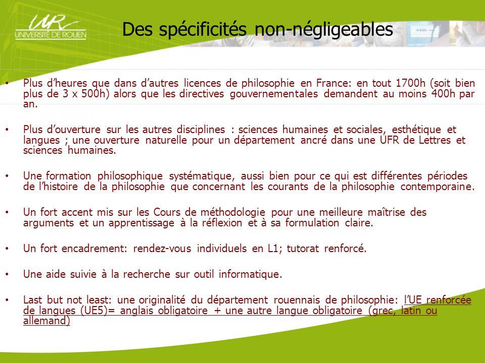 Des spécificités non-négligeables Plus dheures que dans dautres licences de philosophie en France: en tout 1700h (soit bien plus de 3 x 500h) alors qu