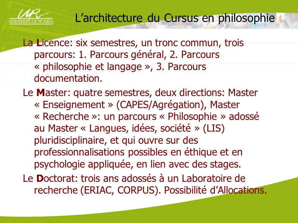 Larchitecture du Cursus en philosophie La Licence: six semestres, un tronc commun, trois parcours: 1. Parcours général, 2. Parcours « philosophie et l