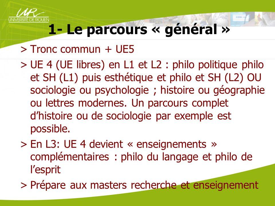 1- Le parcours « général » >Tronc commun + UE5 >UE 4 (UE libres) en L1 et L2 : philo politique philo et SH (L1) puis esthétique et philo et SH (L2) OU
