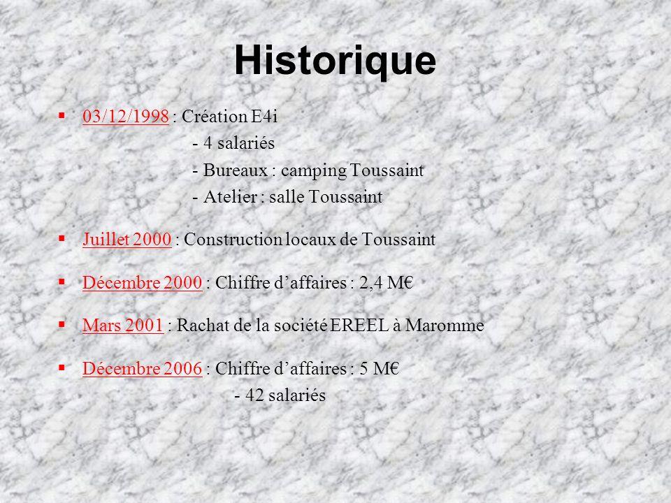 Historique 03/12/1998 : Création E4i - 4 salariés - Bureaux : camping Toussaint - Atelier : salle Toussaint Juillet 2000 : Construction locaux de Tous