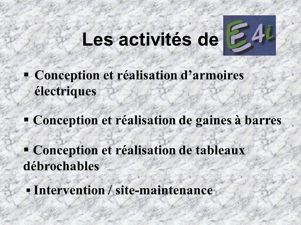 Les activités de Conception et réalisation darmoires électriques Conception et réalisation de gaines à barres Conception et réalisation de tableaux dé