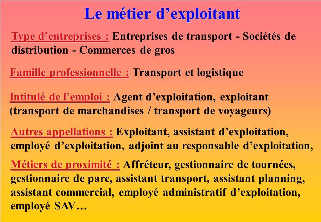 Le métier dexploitant Type dentreprises : Type dentreprises : Entreprises de transport - Sociétés de distribution - Commerces de gros Famille professi
