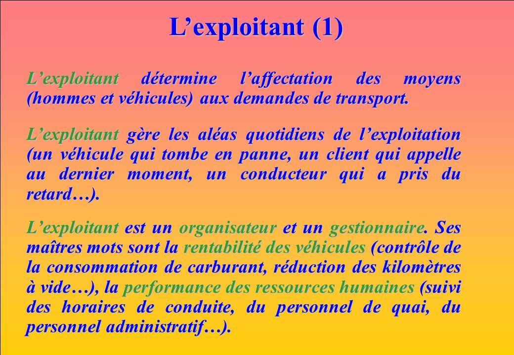 www.iut-fr.net Lexploitant (1) Lexploitant détermine laffectation des moyens (hommes et véhicules) aux demandes de transport. Lexploitant gère les alé