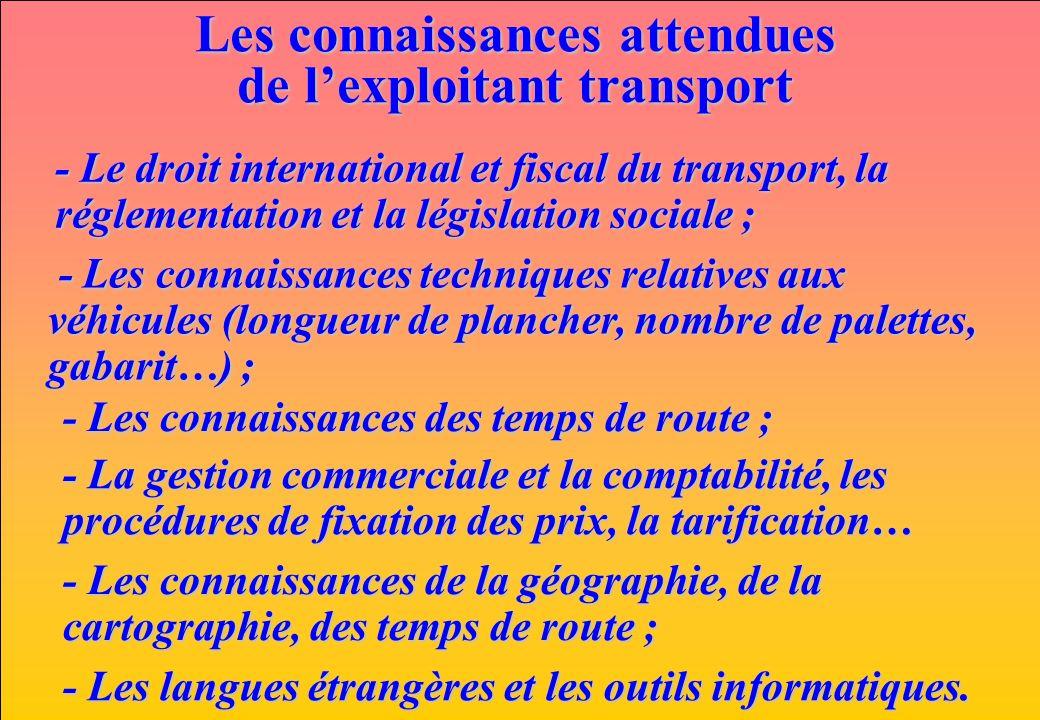 www.iut-fr.net Les connaissances attendues de lexploitant transport - Le droit international et fiscal du transport, la réglementation et la législati