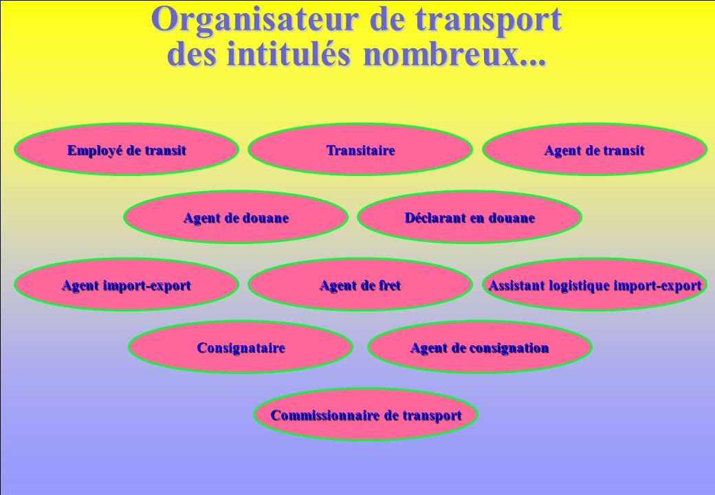 Organisateur de transport des intitulés nombreux... Agent de consignation Agent de douane Agent de fret Agent import-export Commissionnaire de transpo