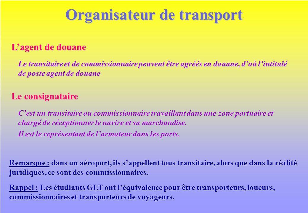 www.iut-fr.net Organisateur de transport Cest un transitaire ou commissionnaire travaillant dans une zone portuaire et chargé de réceptionner le navire et sa marchandise.