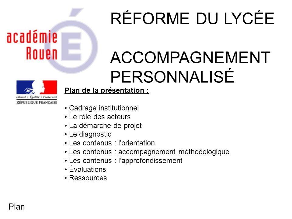 Plan de la présentation : Cadrage institutionnel Le rôle des acteurs La démarche de projet Le diagnostic Les contenus : lorientation Les contenus : ac