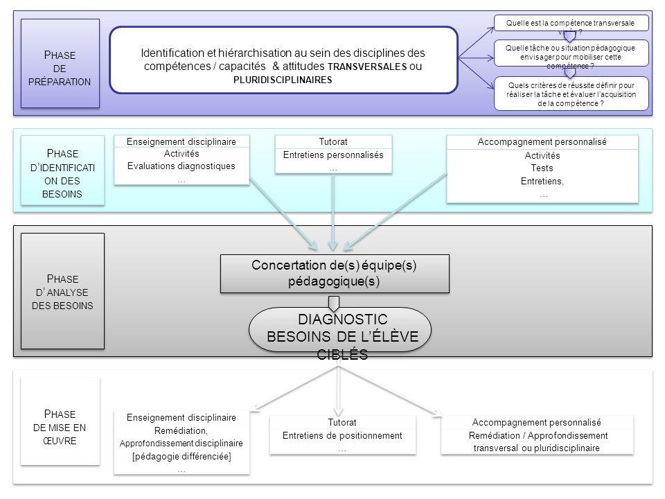 Le diagnostic : bilan Identification et hiérarchisation au sein des disciplines des compétences / capacités & attitudes TRANSVERSALES ou PLURIDISCIPLI