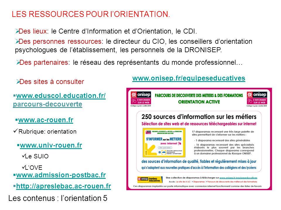 Les contenus : lorientation 5 www.admission-postbac.fr www.onisep.fr/equipeseducatives http://apreslebac.ac-rouen.fr Des lieux: le Centre dInformation