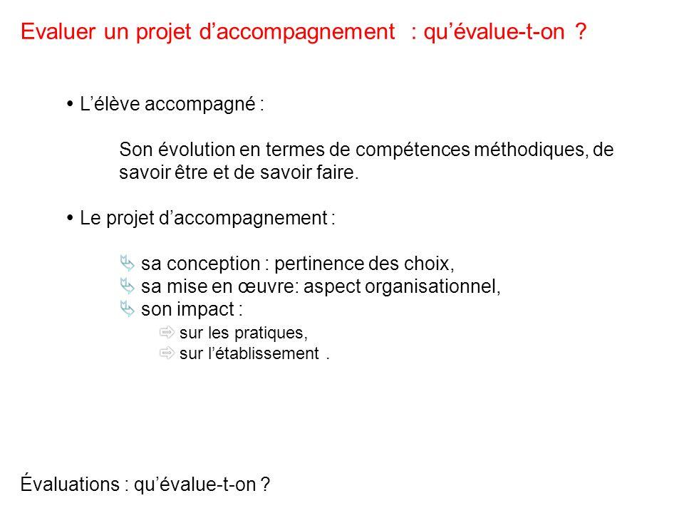 Évaluations : quévalue-t-on ? Evaluer un projet daccompagnement : quévalue-t-on ?